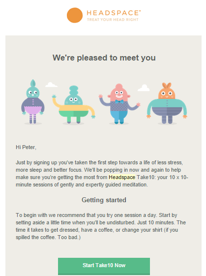 Email On boarding headspace example